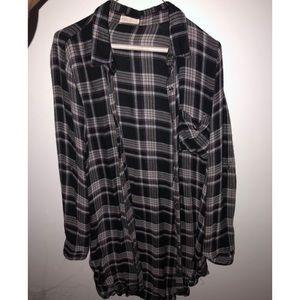Longline plaid shirt